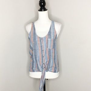 AG Striped Sleeveless Tie Front Button Down